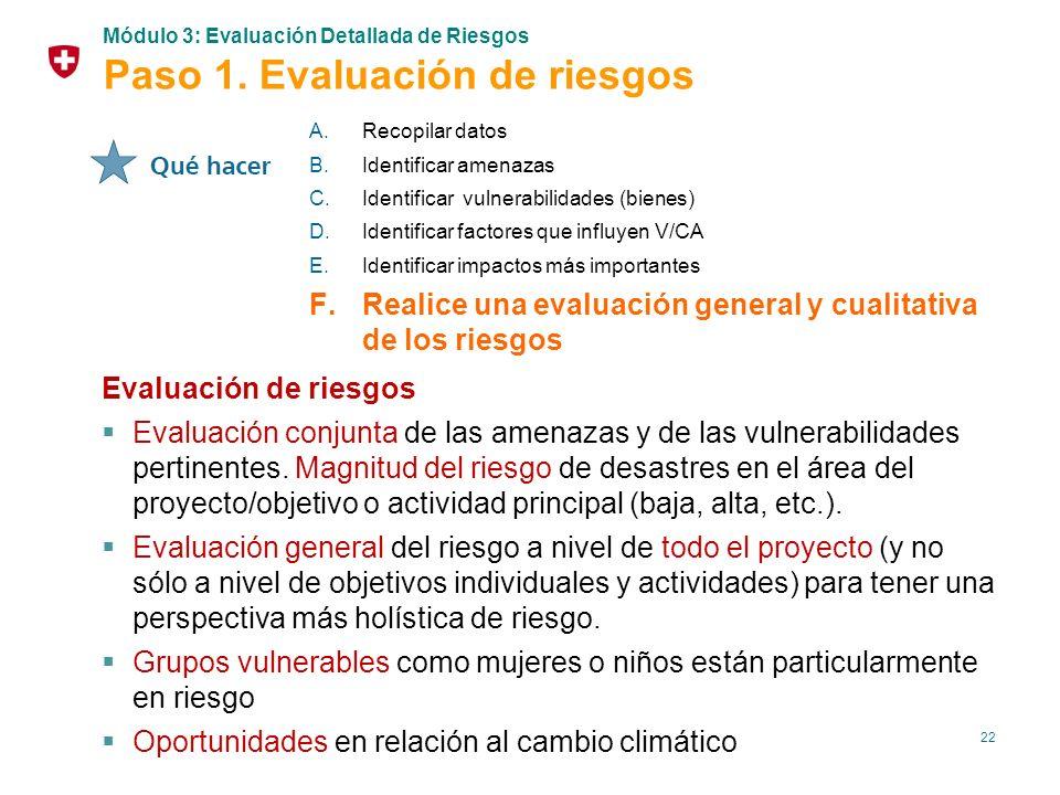 22 Evaluación de riesgos Evaluación conjunta de las amenazas y de las vulnerabilidades pertinentes. Magnitud del riesgo de desastres en el área del pr