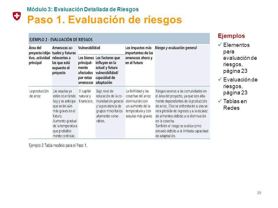 25 Ejemplos Elementos para evaluación de riesgos, página 23 Evaluación de riesgos, página 23 Tablas en Redes Módulo 3: Evaluación Detallada de Riesgos