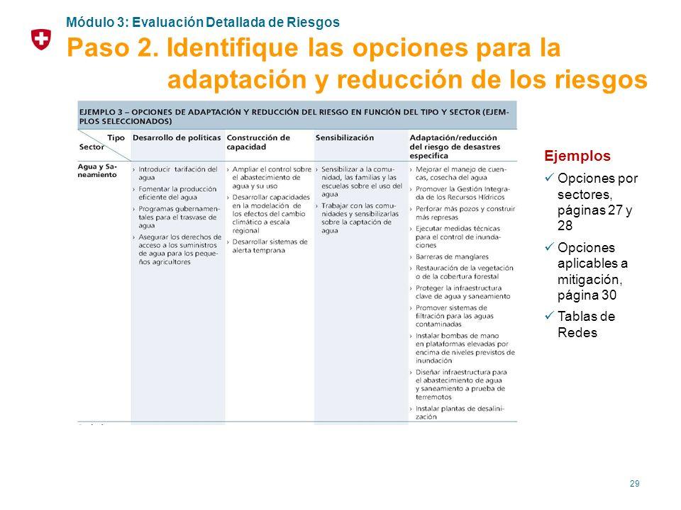 29 Ejemplos Opciones por sectores, páginas 27 y 28 Opciones aplicables a mitigación, página 30 Tablas de Redes Módulo 3: Evaluación Detallada de Riesg
