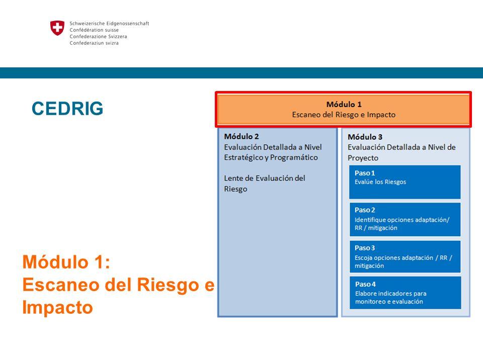 4 Módulo 1 : Escaneo del Riesgo e Impacto Determinar si la actividad está potencialmente expuesta a desastres resultantes del CC, la degradación del medio ambiente y/o las amenazas naturales Puede tener un impacto sobre las EGEI y/o en el medio ambiente Evaluación rápida y básica de riesgos e impactos para decidir si se procede o no a realizar una Evaluación Detallada (Módulo 2 y 3) Se aplica en una fase muy temprana de la planificación Bastante genérica y rápida, con sólo mínimo de conocimientos y sin tener acceso a datos climáticos detallados