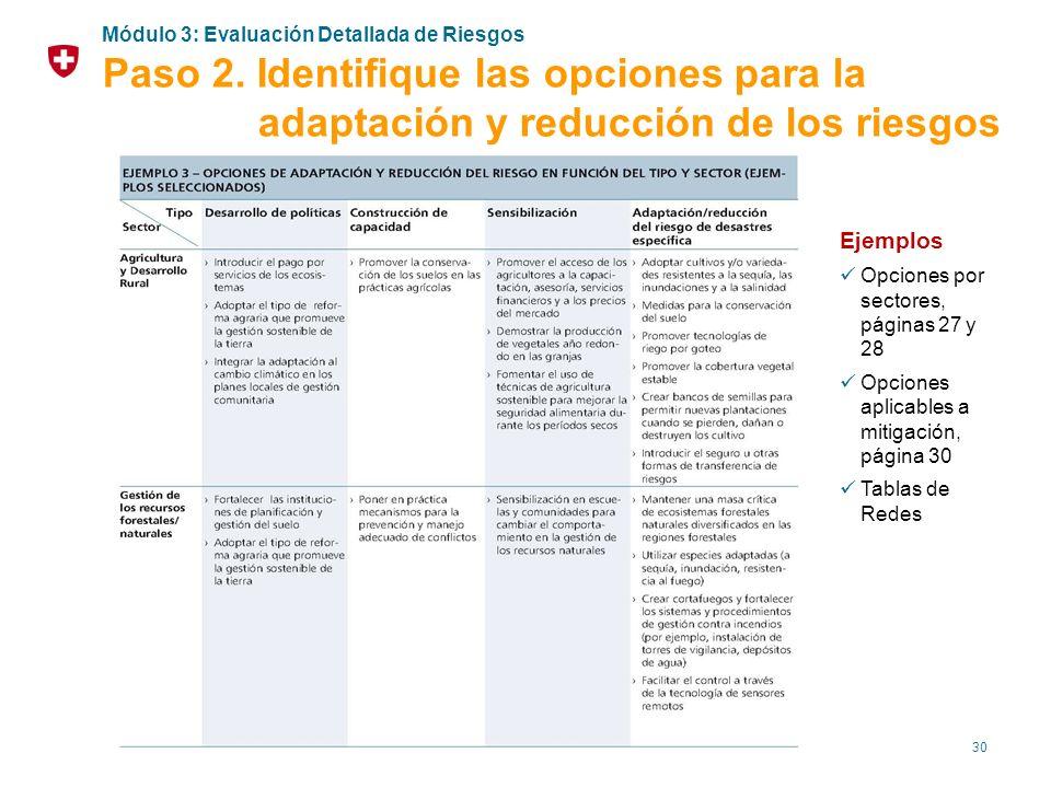 30 Ejemplos Opciones por sectores, páginas 27 y 28 Opciones aplicables a mitigación, página 30 Tablas de Redes Módulo 3: Evaluación Detallada de Riesg