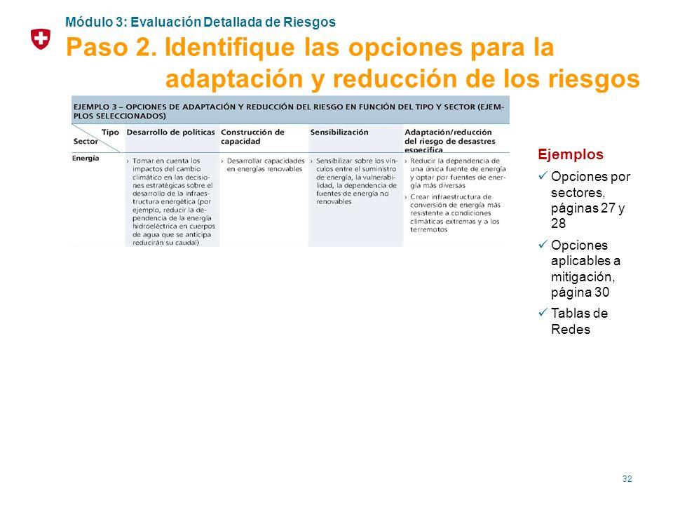 32 Ejemplos Opciones por sectores, páginas 27 y 28 Opciones aplicables a mitigación, página 30 Tablas de Redes Módulo 3: Evaluación Detallada de Riesg