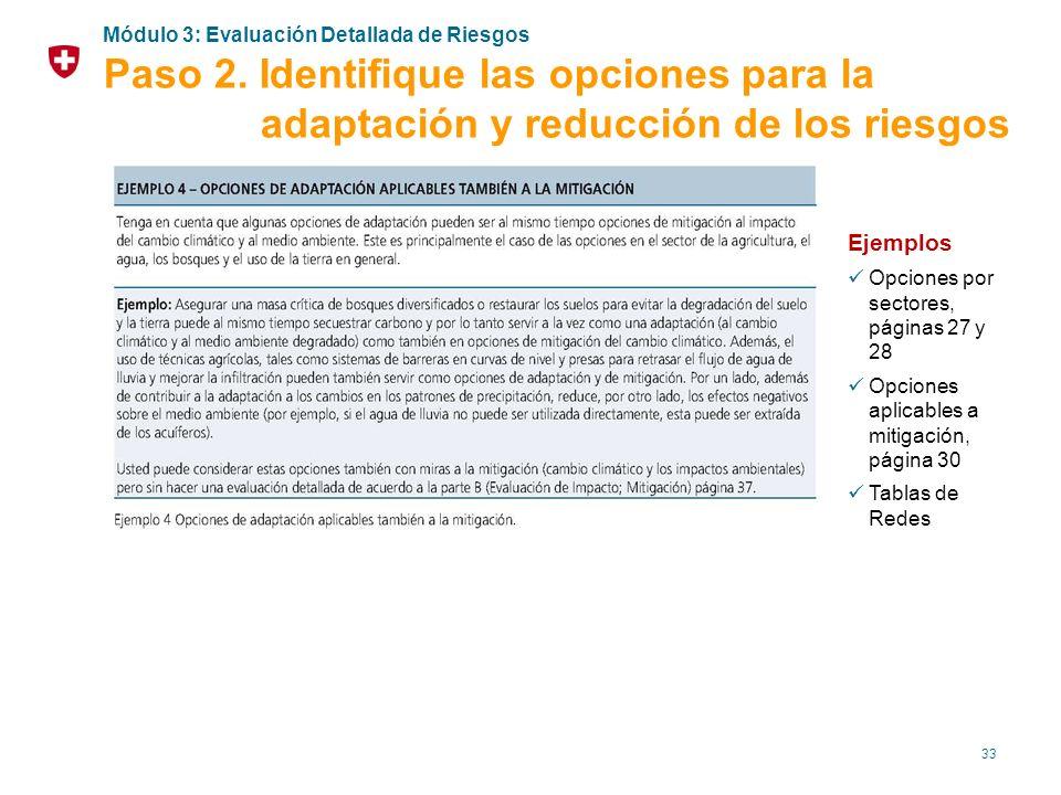 33 Ejemplos Opciones por sectores, páginas 27 y 28 Opciones aplicables a mitigación, página 30 Tablas de Redes Módulo 3: Evaluación Detallada de Riesg
