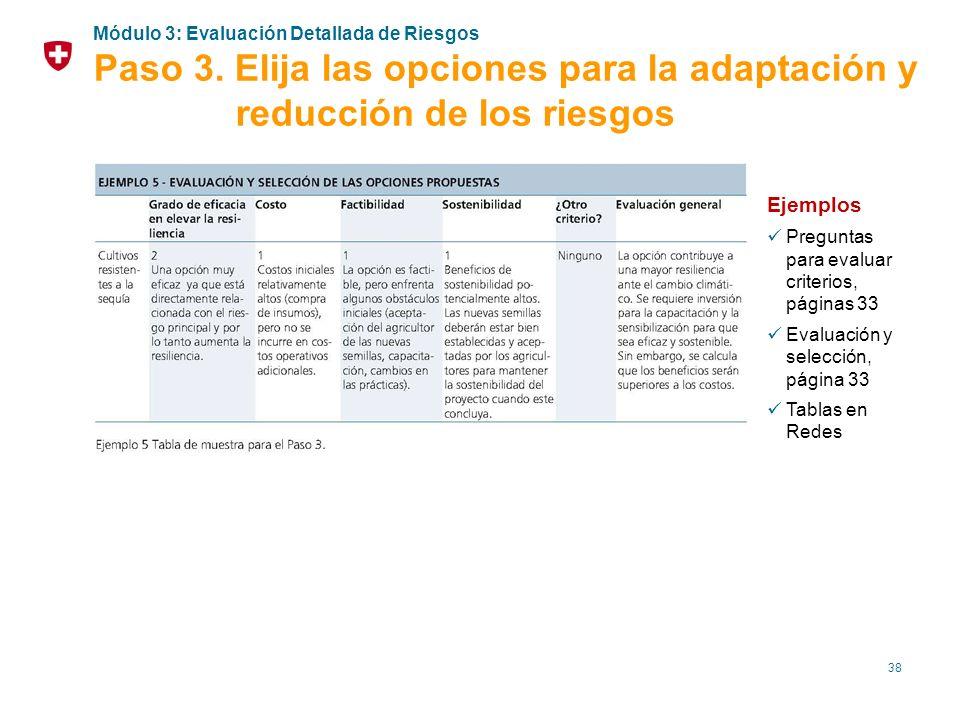 38 Ejemplos Preguntas para evaluar criterios, páginas 33 Evaluación y selección, página 33 Tablas en Redes Módulo 3: Evaluación Detallada de Riesgos P