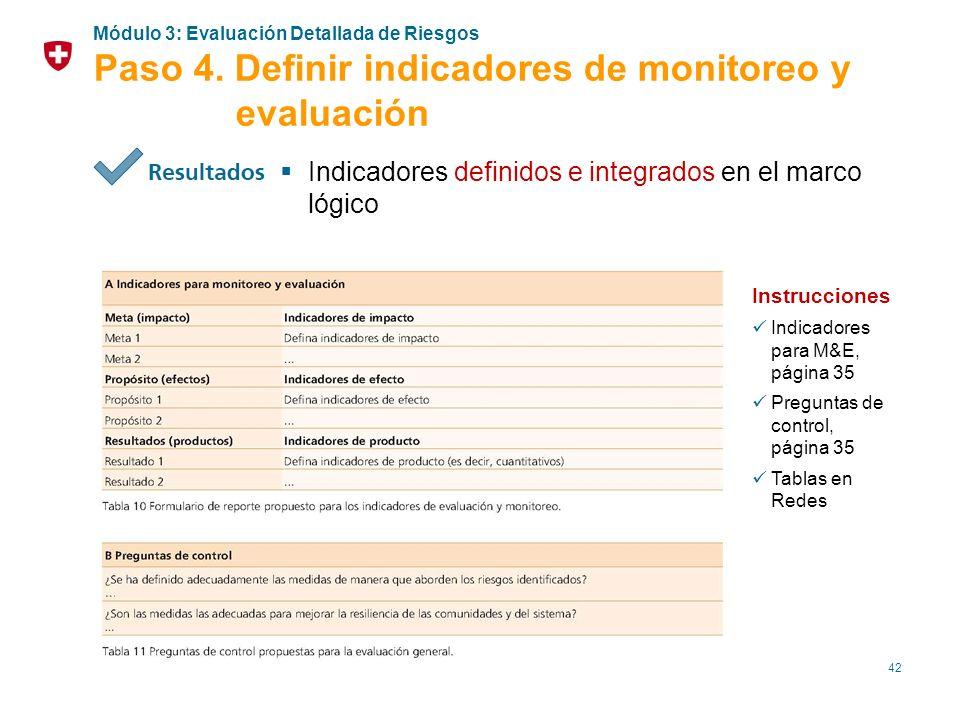 42 Indicadores definidos e integrados en el marco lógico Instrucciones Indicadores para M&E, página 35 Preguntas de control, página 35 Tablas en Redes