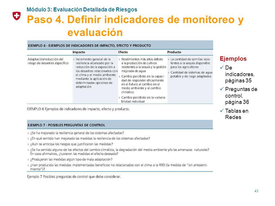 43 Ejemplos De indicadores, páginas 35 Preguntas de control, página 36 Tablas en Redes Módulo 3: Evaluación Detallada de Riesgos Paso 4. Definir indic