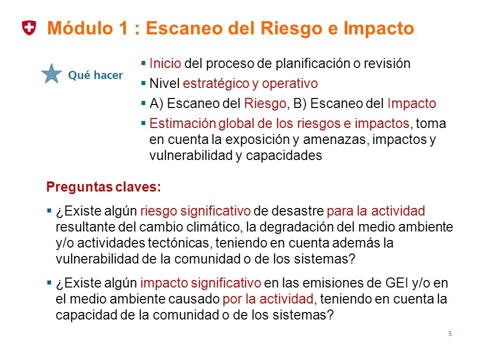 16 Identificar los riesgos de desastres que resultan del cambio climático, la degradación del medio ambiente y/o las amenazas naturales para las actividades del proyecto Utiliza los resultados del escaneo en el Módulo 1.