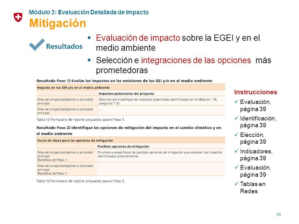 50 Evaluación de impacto sobre la EGEI y en el medio ambiente Selección e integraciones de las opciones más prometedoras Instrucciones Evaluación, pág