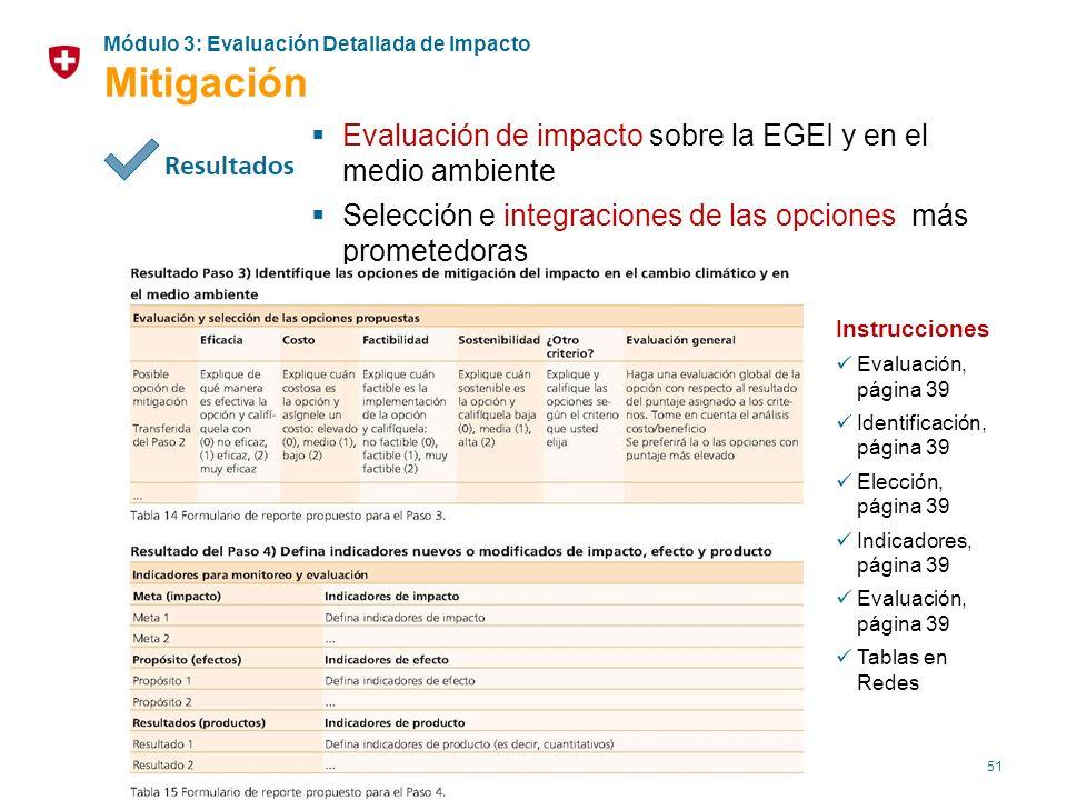 51 Evaluación de impacto sobre la EGEI y en el medio ambiente Selección e integraciones de las opciones más prometedoras Instrucciones Evaluación, pág