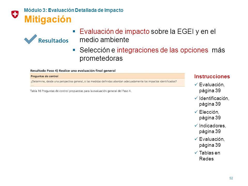 52 Evaluación de impacto sobre la EGEI y en el medio ambiente Selección e integraciones de las opciones más prometedoras Instrucciones Evaluación, pág