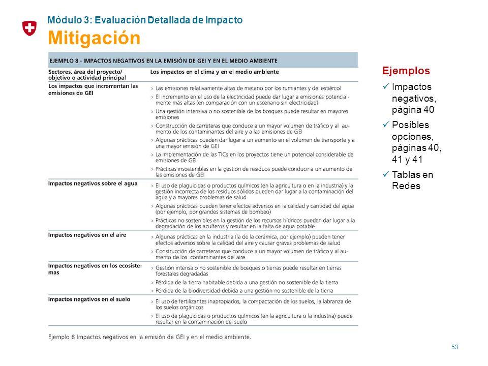 53 Ejemplos Impactos negativos, página 40 Posibles opciones, páginas 40, 41 y 41 Tablas en Redes Módulo 3: Evaluación Detallada de Impacto Mitigación