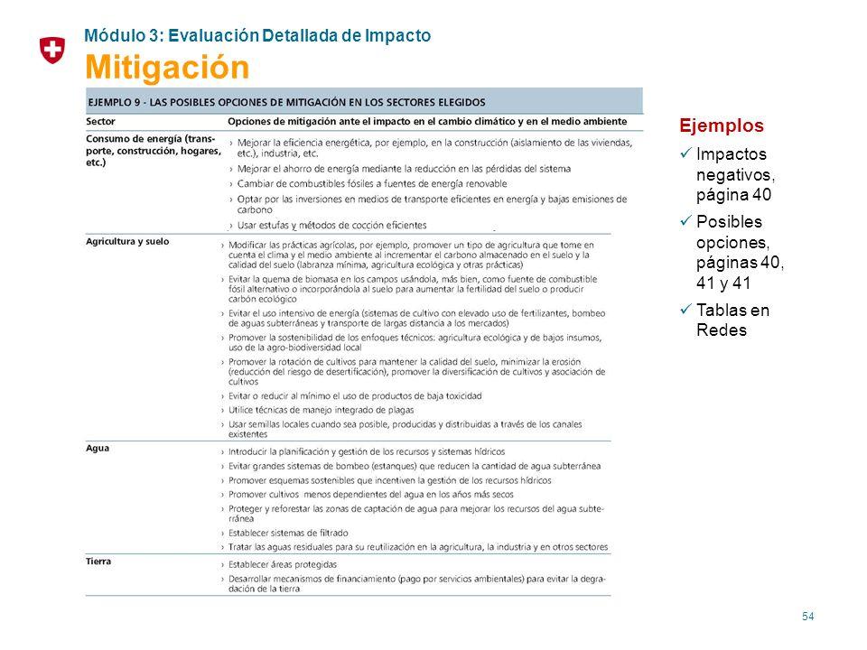 54 Ejemplos Impactos negativos, página 40 Posibles opciones, páginas 40, 41 y 41 Tablas en Redes Módulo 3: Evaluación Detallada de Impacto Mitigación