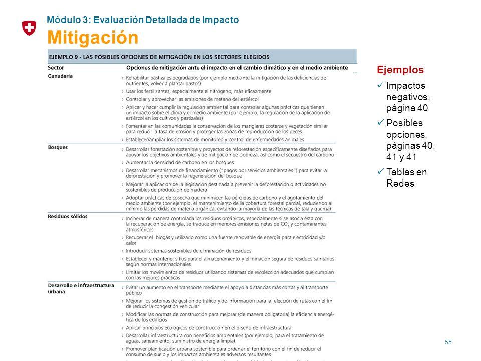 55 Ejemplos Impactos negativos, página 40 Posibles opciones, páginas 40, 41 y 41 Tablas en Redes Módulo 3: Evaluación Detallada de Impacto Mitigación