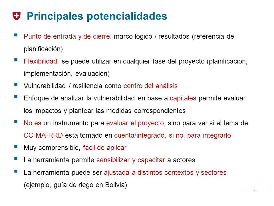 58 Principales potencialidades Punto de entrada y de cierre: marco lógico / resultados (referencia de planificación) Flexibilidad: se puede utilizar e