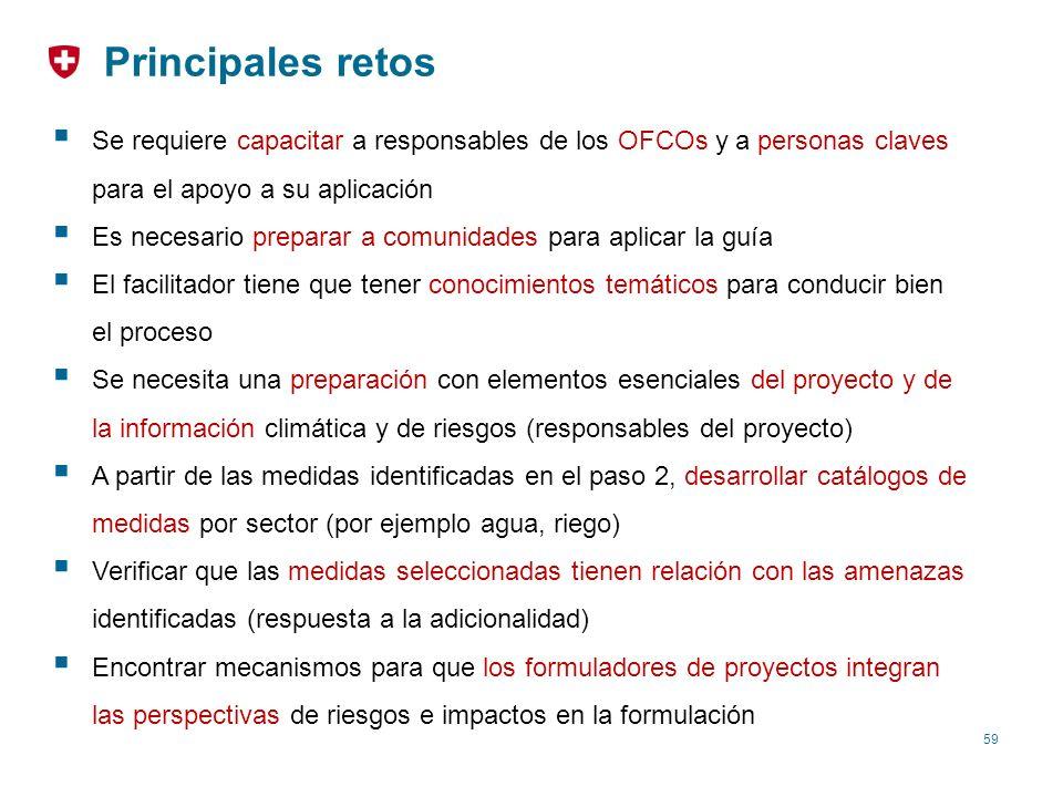 59 Principales retos Se requiere capacitar a responsables de los OFCOs y a personas claves para el apoyo a su aplicación Es necesario preparar a comun