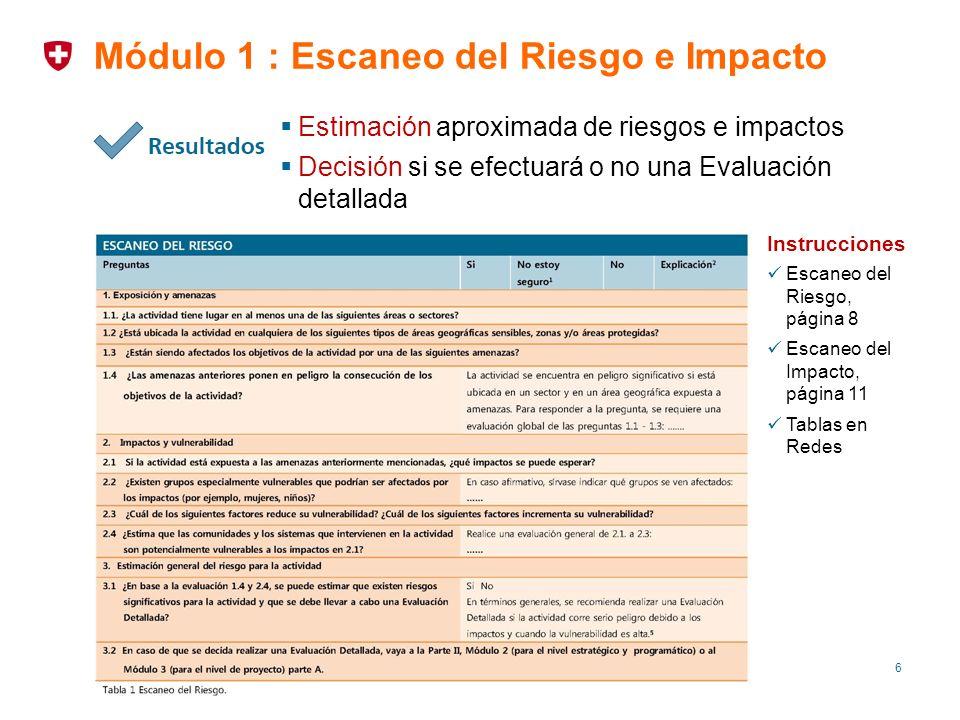 6 Módulo 1 : Escaneo del Riesgo e Impacto Estimación aproximada de riesgos e impactos Decisión si se efectuará o no una Evaluación detallada Instrucci