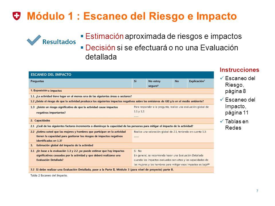 7 Módulo 1 : Escaneo del Riesgo e Impacto Estimación aproximada de riesgos e impactos Decisión si se efectuará o no una Evaluación detallada Instrucci