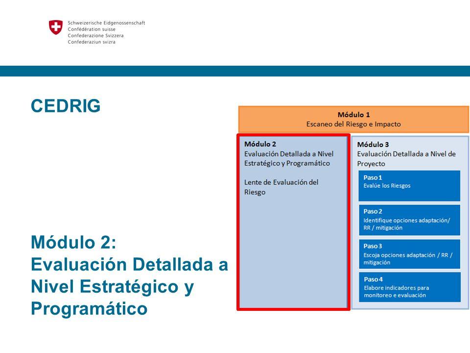 29 Ejemplos Opciones por sectores, páginas 27 y 28 Opciones aplicables a mitigación, página 30 Tablas de Redes Módulo 3: Evaluación Detallada de Riesgos Paso 2.