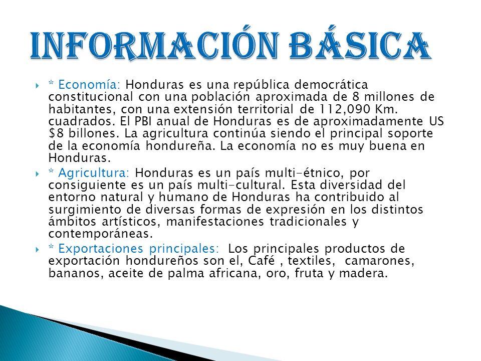 * Economía: Honduras es una república democrática constitucional con una población aproximada de 8 millones de habitantes, con una extensión territori