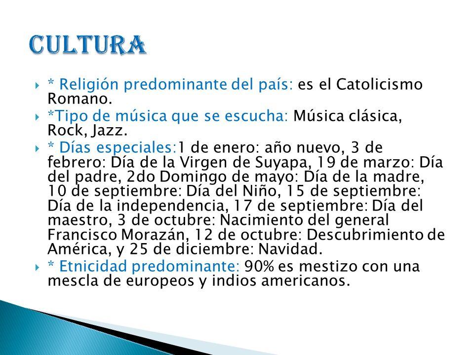 * Religión predominante del país: es el Catolicismo Romano. *Tipo de música que se escucha: Música clásica, Rock, Jazz. * Días especiales:1 de enero: