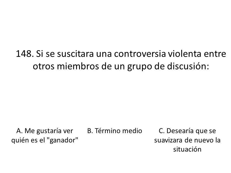 148. Si se suscitara una controversia violenta entre otros miembros de un grupo de discusión: A. Me gustaría ver quién es el