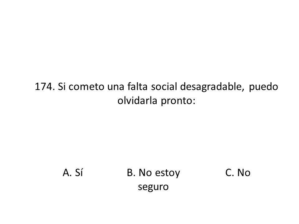 174. Si cometo una falta social desagradable, puedo olvidarla pronto: A. SíB. No estoy seguro C. No
