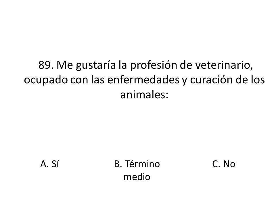 89. Me gustaría la profesión de veterinario, ocupado con las enfermedades y curación de los animales: A. Sí B. Término medio C. No