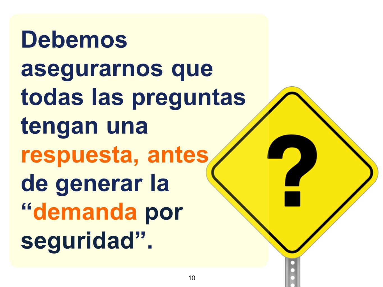 10 Debemos asegurarnos que todas las preguntas tengan una respuesta, antes de generar lademanda por seguridad.