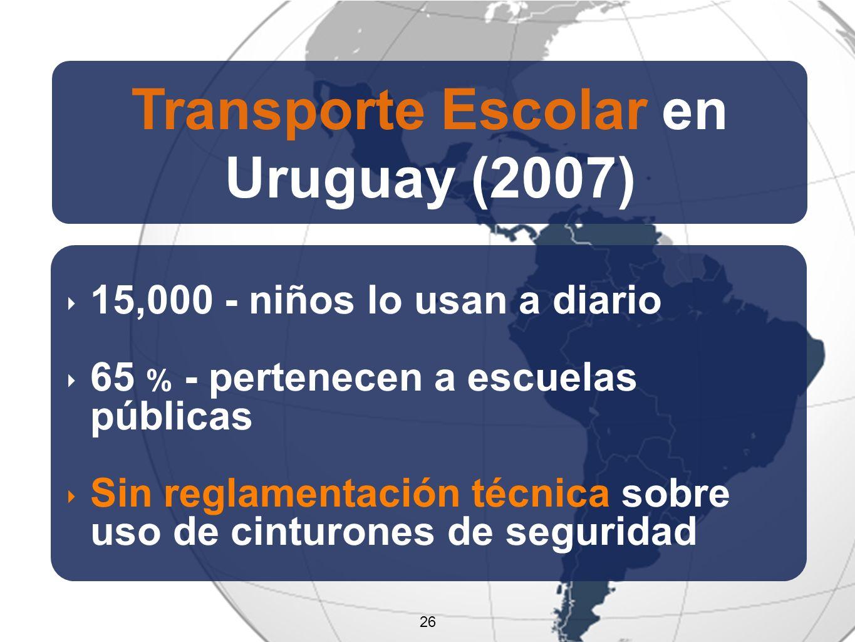 26 Transporte Escolar en Uruguay (2007) 15,000 - niños lo usan a diario 65 % - pertenecen a escuelas públicas Sin reglamentación técnica sobre uso de cinturones de seguridad 26