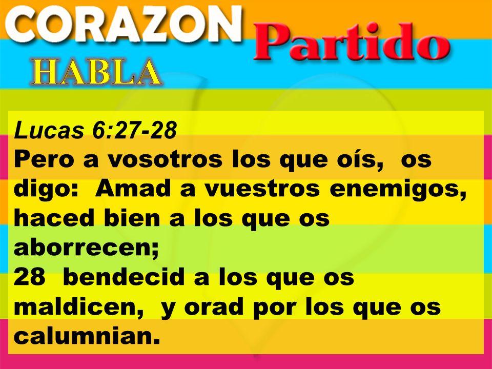 Lucas 6:27-28 Pero a vosotros los que oís, os digo: Amad a vuestros enemigos, haced bien a los que os aborrecen; 28 bendecid a los que os maldicen, y orad por los que os calumnian.