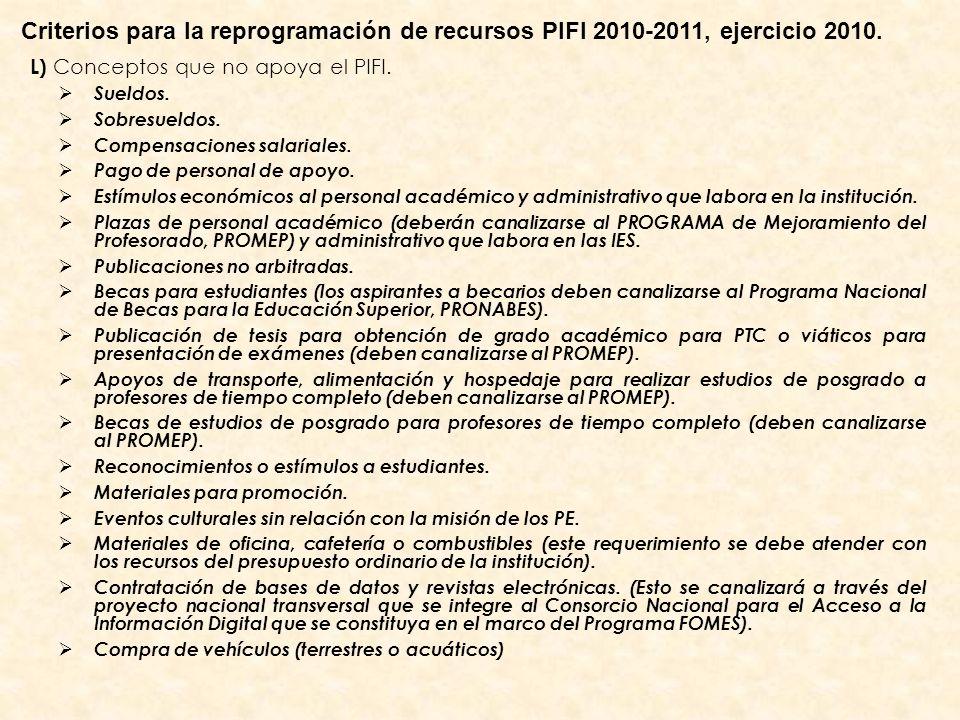 L) Conceptos que no apoya el PIFI. Sueldos. Sobresueldos. Compensaciones salariales. Pago de personal de apoyo. Estímulos económicos al personal acadé