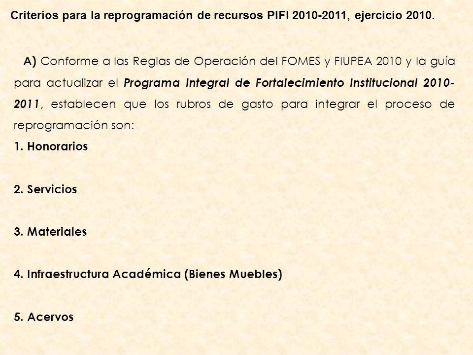A) Conforme a las Reglas de Operación del FOMES y FIUPEA 2010 y la guía para actualizar el Programa Integral de Fortalecimiento Institucional 2010- 2011, establecen que los rubros de gasto para integrar el proceso de reprogramación son: 1.