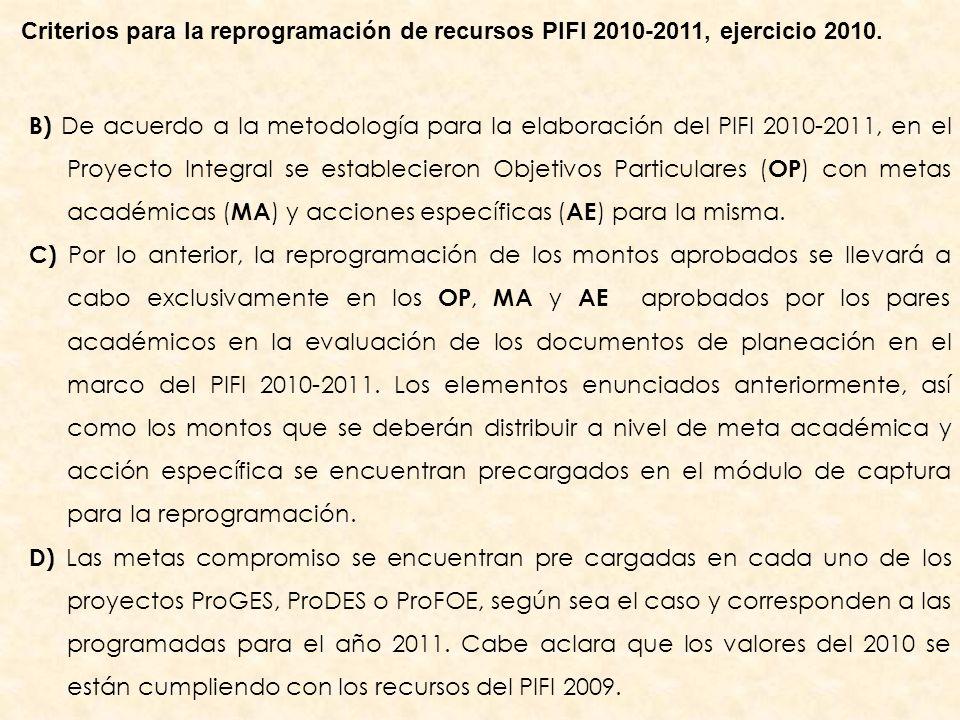 B) De acuerdo a la metodología para la elaboración del PIFI 2010-2011, en el Proyecto Integral se establecieron Objetivos Particulares ( OP ) con metas académicas ( MA ) y acciones específicas ( AE ) para la misma.