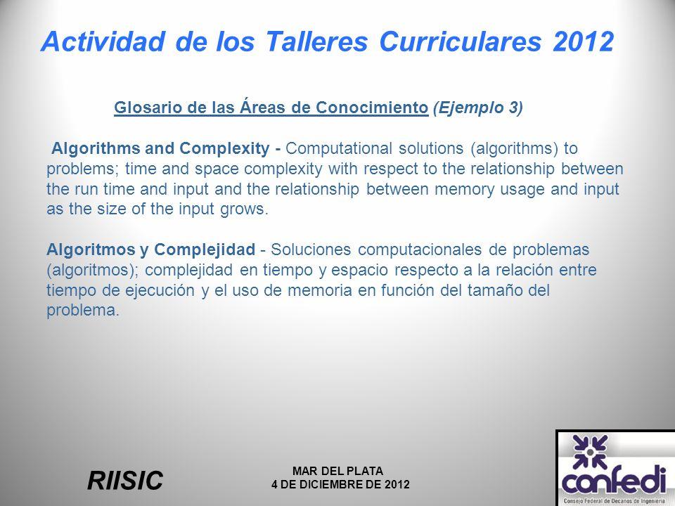 Actividad de los Talleres Curriculares 2012 RIISIC MAR DEL PLATA 4 DE DICIEMBRE DE 2012 Glosario de las Áreas de Conocimiento (Ejemplo 3) Algorithms a