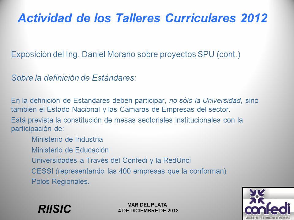 Actividad de los Talleres Curriculares 2012 Exposición del Ing.