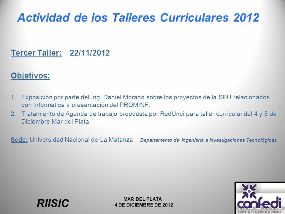 Actividad de los Talleres Curriculares 2012 Tercer Taller: 22/11/2012 Objetivos: 1.Exposición por parte del Ing.