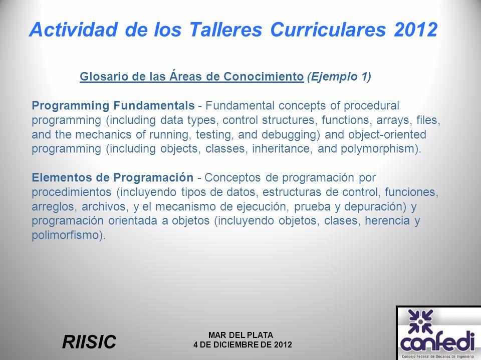 Actividad de los Talleres Curriculares 2012 RIISIC MAR DEL PLATA 4 DE DICIEMBRE DE 2012 Glosario de las Áreas de Conocimiento (Ejemplo 1) Programming