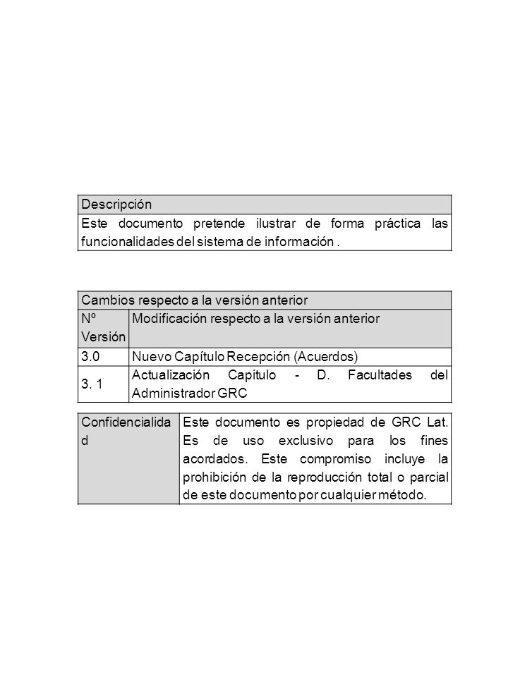 Descripción Este documento pretende ilustrar de forma práctica las funcionalidades del sistema de información.