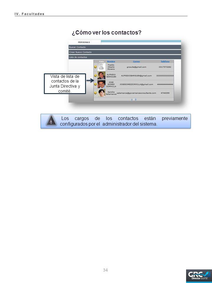 Vista de lista de contactos de la Junta Directiva y comité.