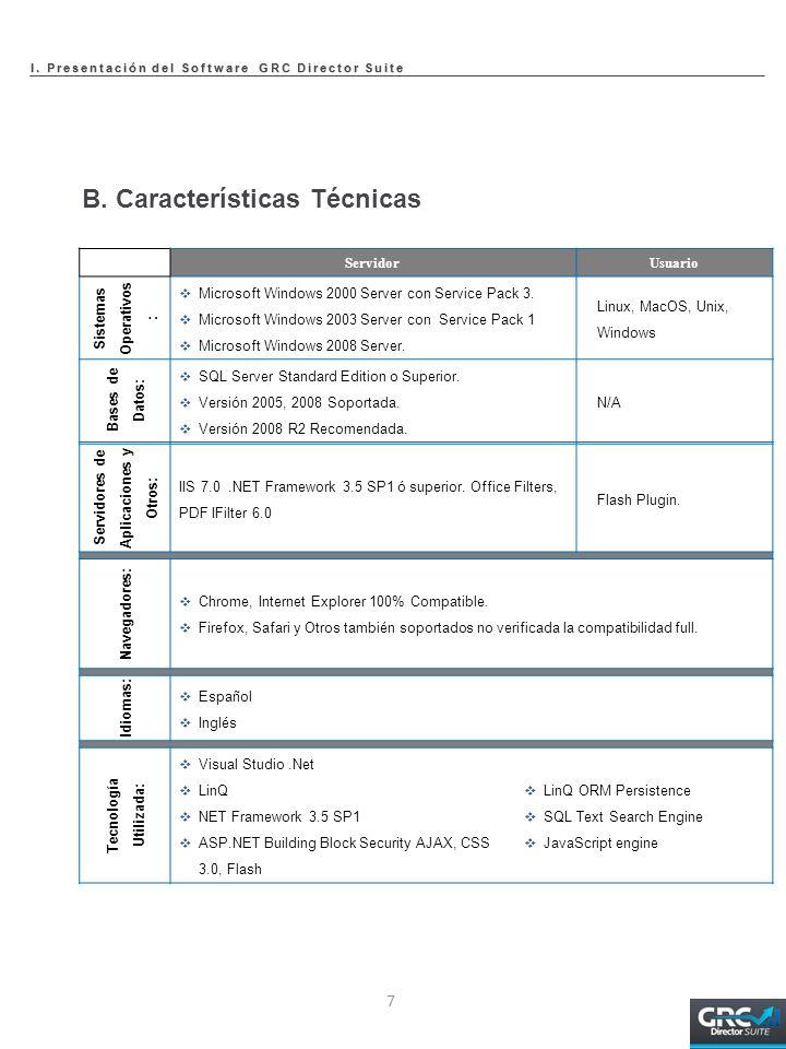 B. Características Técnicas Servidores de Aplicaciones y Otros: IIS 7.0.NET Framework 3.5 SP1 ó superior. Office Filters, PDF IFilter 6.0 Flash Plugin
