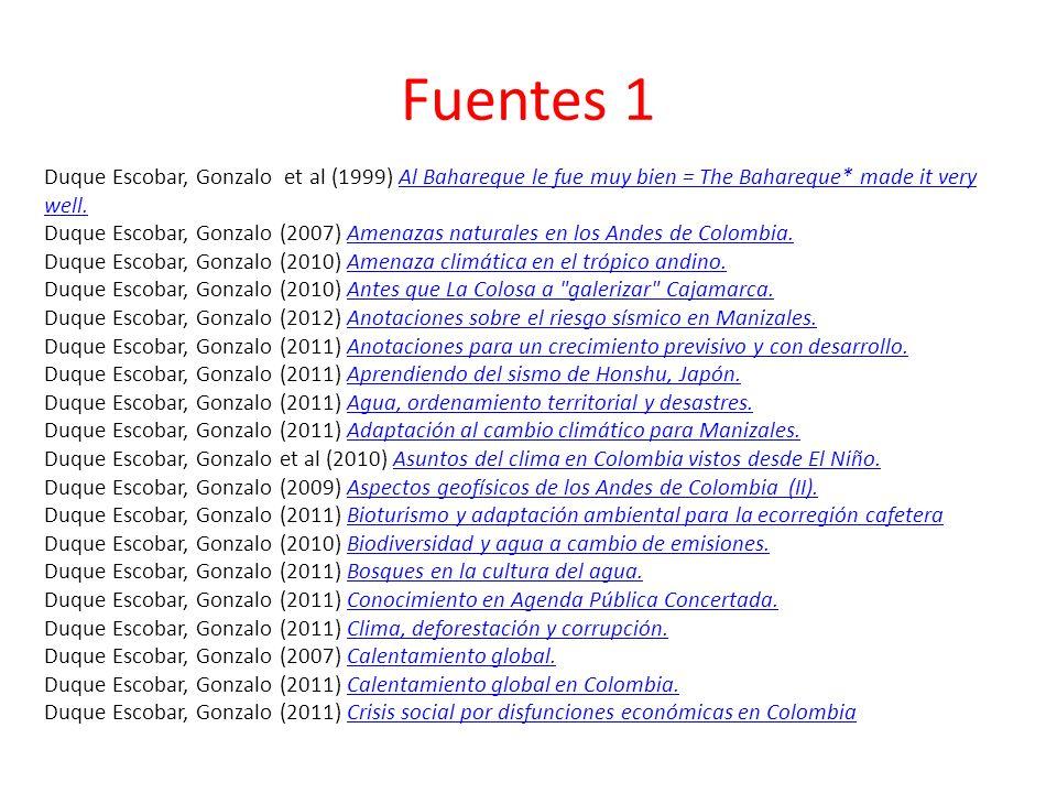 Fuentes 1 Duque Escobar, Gonzalo et al (1999) Al Bahareque le fue muy bien = The Bahareque* made it very well.Al Bahareque le fue muy bien = The Bahar