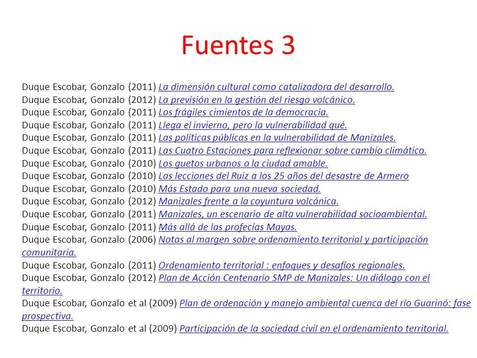 Fuentes 3 Duque Escobar, Gonzalo (2011) La dimensión cultural como catalizadora del desarrollo.La dimensión cultural como catalizadora del desarrollo.