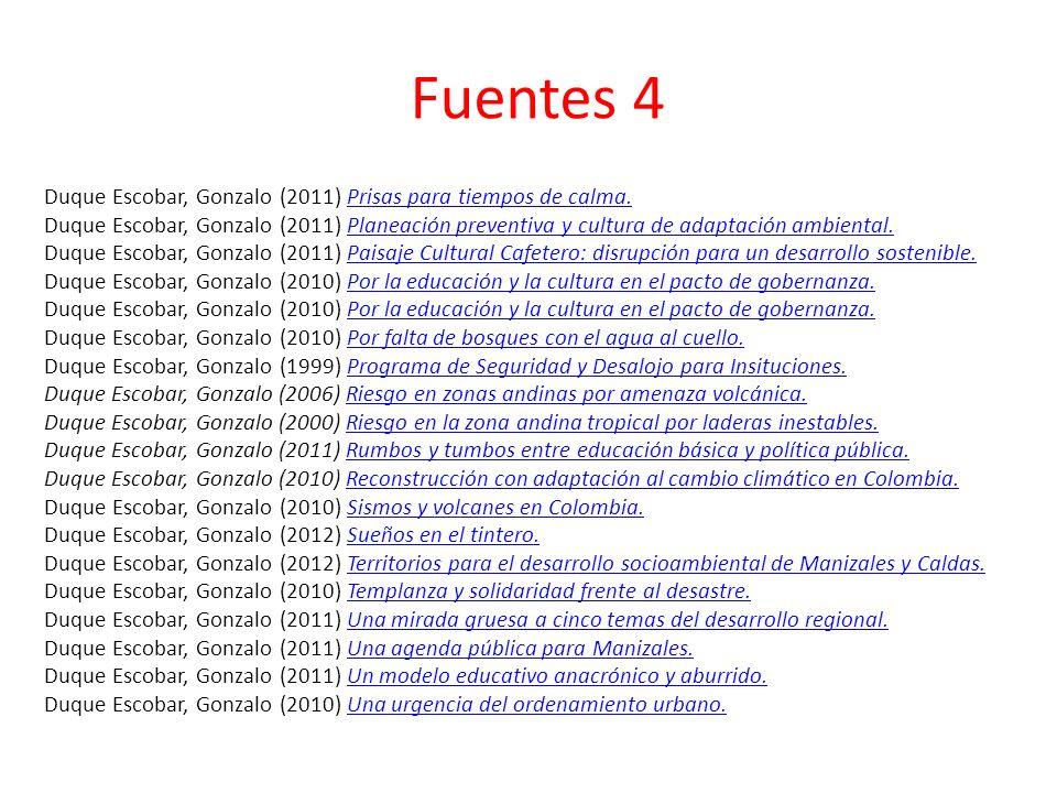 Fuentes 4 Duque Escobar, Gonzalo (2011) Prisas para tiempos de calma.Prisas para tiempos de calma.