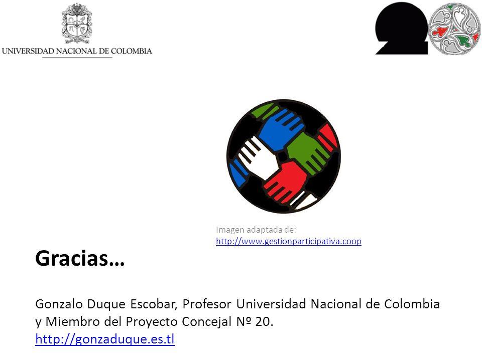 Gracias… Gonzalo Duque Escobar, Profesor Universidad Nacional de Colombia y Miembro del Proyecto Concejal Nº 20.