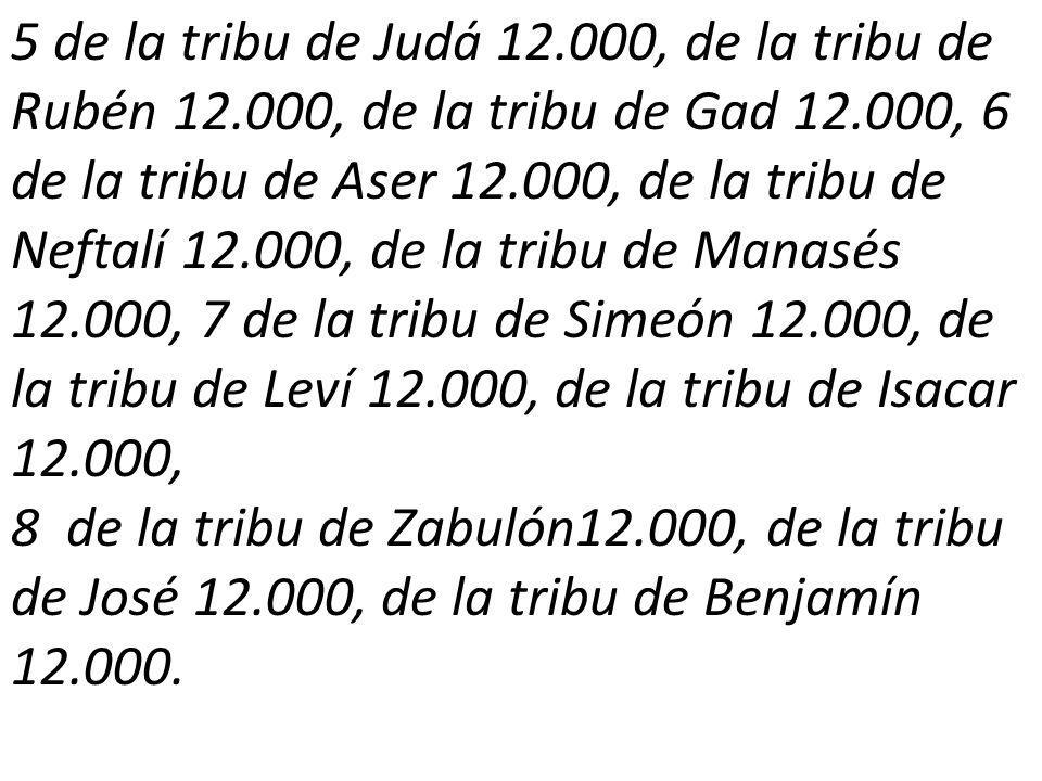 5 de la tribu de Judá 12.000, de la tribu de Rubén 12.000, de la tribu de Gad 12.000, 6 de la tribu de Aser 12.000, de la tribu de Neftalí 12.000, de la tribu de Manasés 12.000, 7 de la tribu de Simeón 12.000, de la tribu de Leví 12.000, de la tribu de Isacar 12.000, 8 de la tribu de Zabulón12.000, de la tribu de José 12.000, de la tribu de Benjamín 12.000.