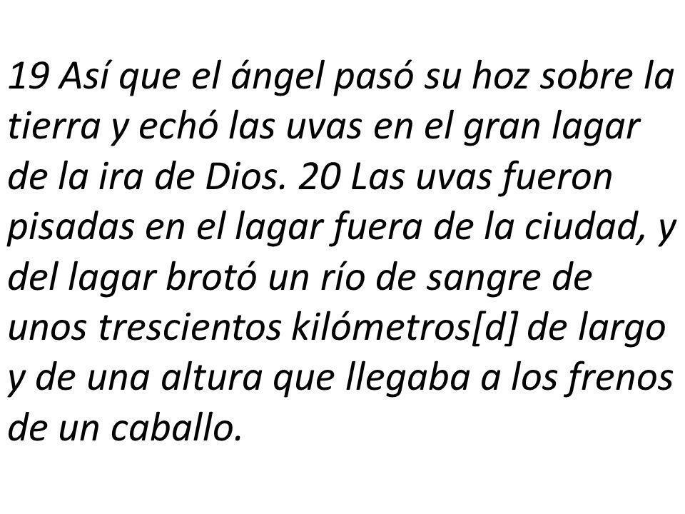 19 Así que el ángel pasó su hoz sobre la tierra y echó las uvas en el gran lagar de la ira de Dios.
