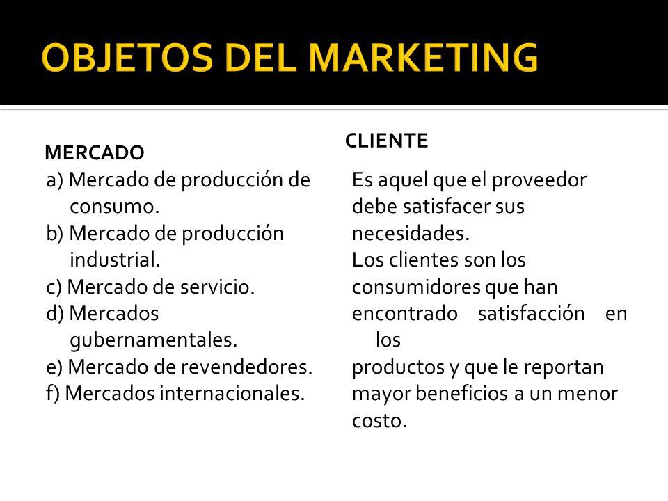 MERCADO a) Mercado de producción de consumo. b) Mercado de producción industrial. c) Mercado de servicio. d) Mercados gubernamentales. e) Mercado de r