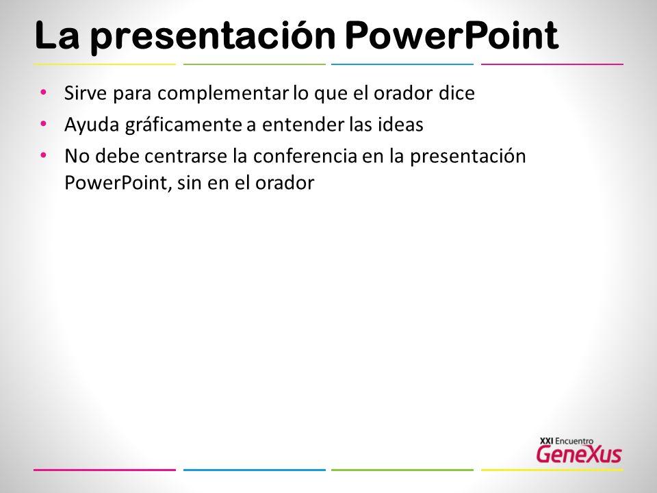 La presentación PowerPoint Sirve para complementar lo que el orador dice Ayuda gráficamente a entender las ideas No debe centrarse la conferencia en l