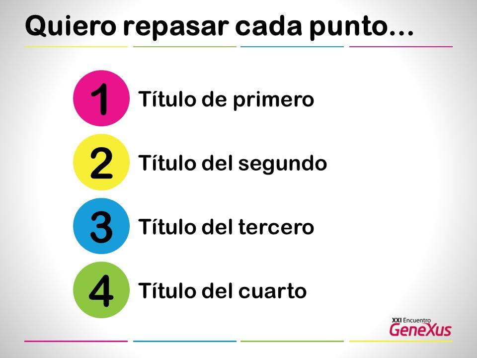Quiero repasar cada punto… Título de primero 1 Título del segundo 2 Título del tercero 3 Título del cuarto 4