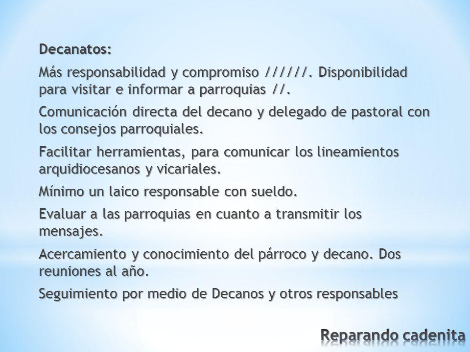Decanatos: Más responsabilidad y compromiso //////.